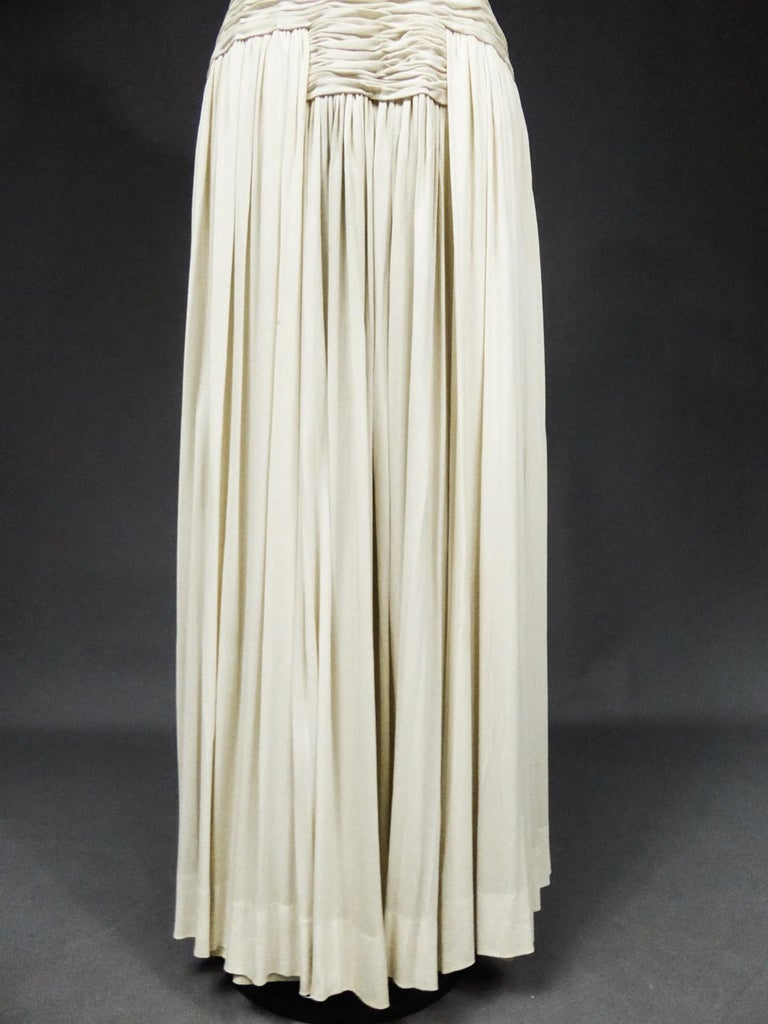 A Carven French Haute Couture Evening Dress in Pleated Jersey Silk Circa 1950 For Sale 7