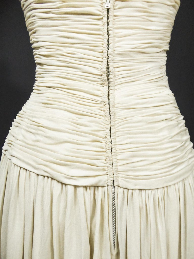 A Carven French Haute Couture Evening Dress in Pleated Jersey Silk Circa 1950 For Sale 9