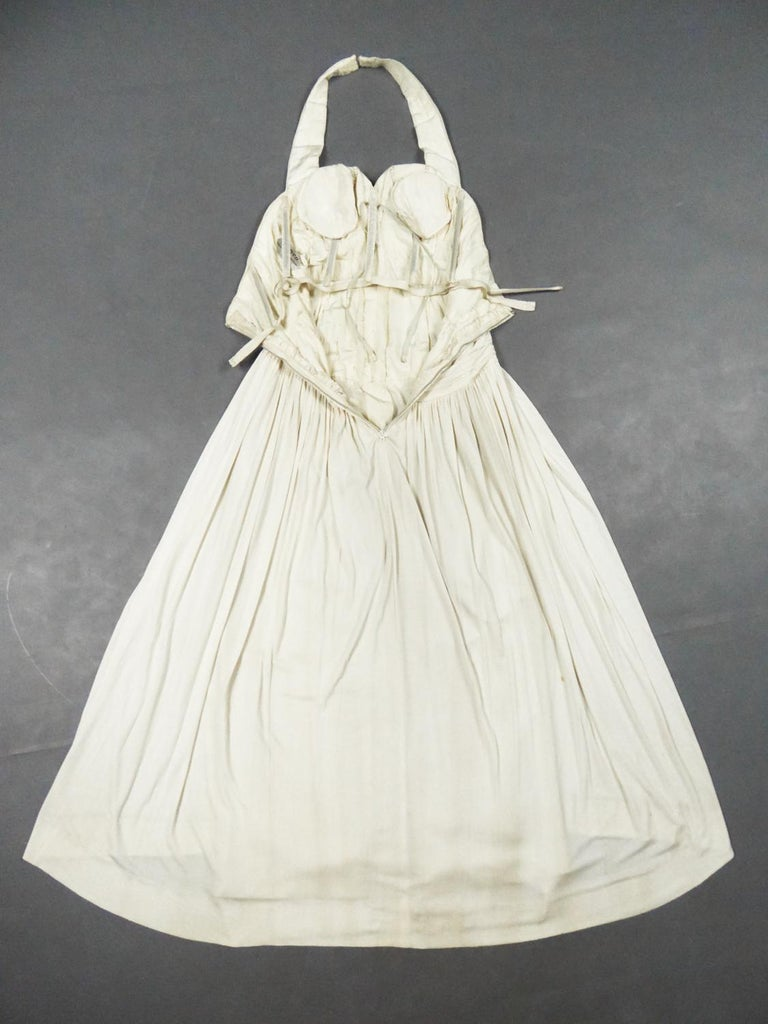 Women's A Carven French Haute Couture Evening Dress in Pleated Jersey Silk Circa 1950 For Sale