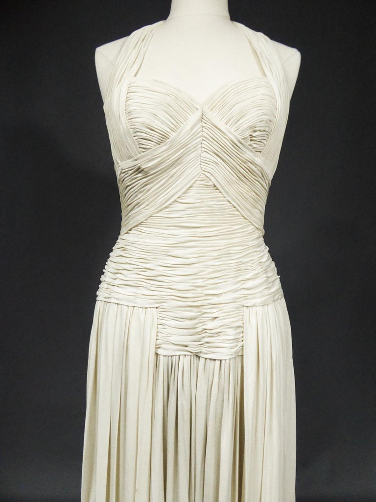A Carven French Haute Couture Evening Dress in Pleated Jersey Silk Circa 1950 For Sale 4