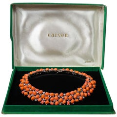 A Carven Haute Couture Necklace in Coral Beads Circa 1960/1970
