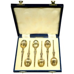 A Cased Set of Six Sterling Silver-Gilt Coffee Spoons, Birmingham 1952