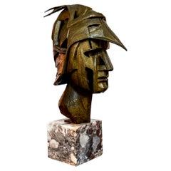 Cast Bronze Brutalist Warrior Bust