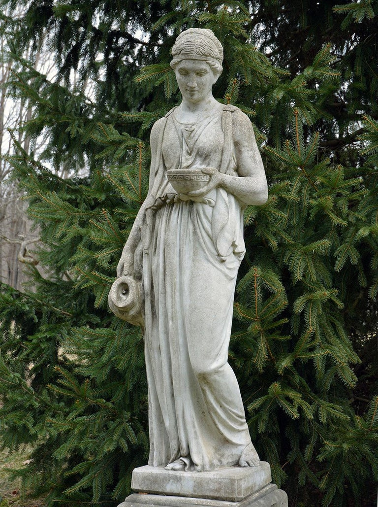 Cast-Stone Statue of Hebe In Good Condition For Sale In Katonah, NY