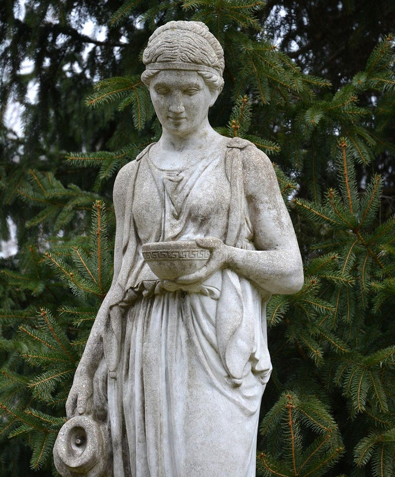Mid-20th Century Cast-Stone Statue of Hebe For Sale
