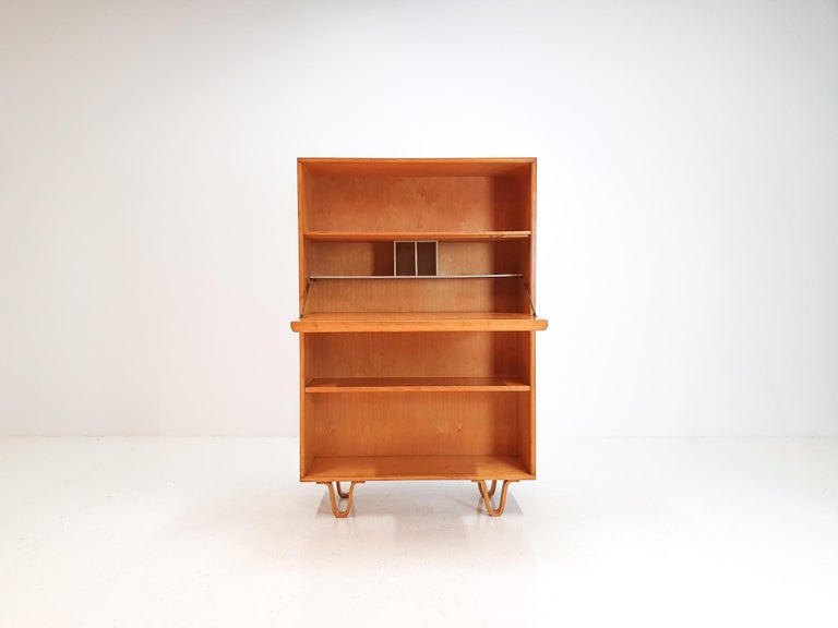 Mid-Century Modern Cees Braakman BB04 Birch Secretaire for UMS Pastoe, Designed 1952, Netherlands For Sale