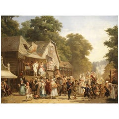 Celebration in the Village, by Jan Jacob Broos, 1833-1882