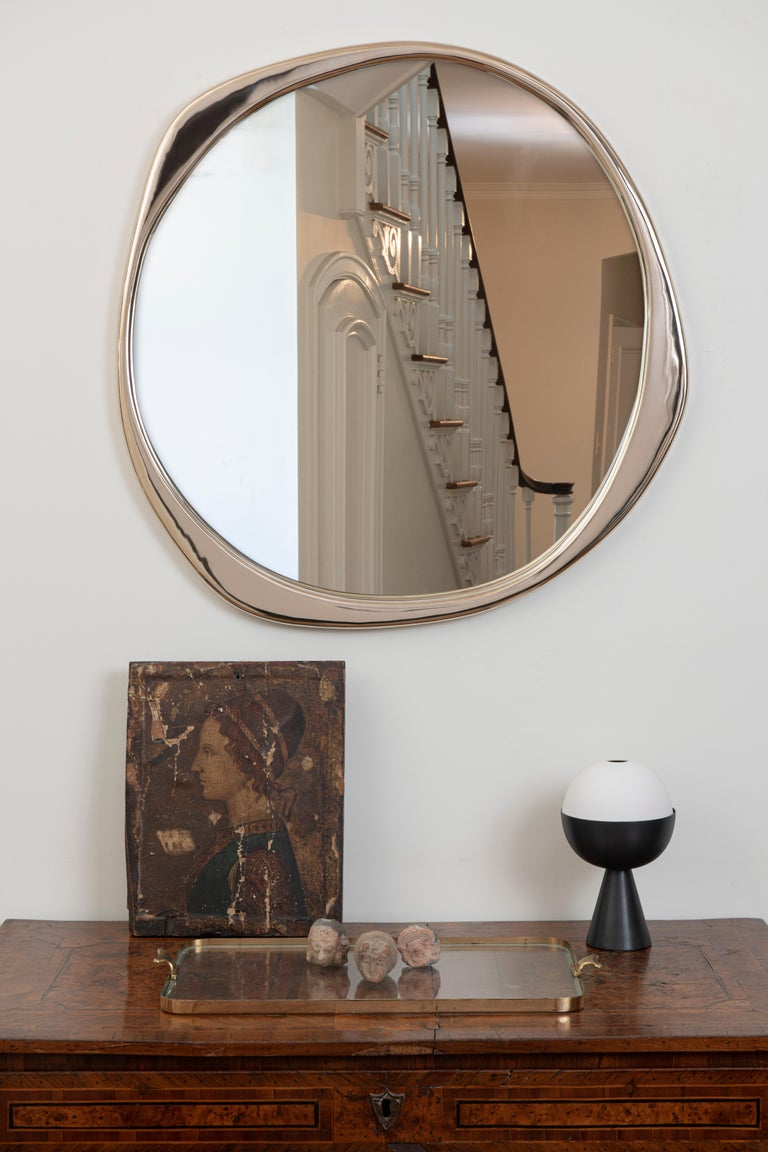 American A. Cepa Wall Mirror Small in Hand-Patina Bronze For Sale