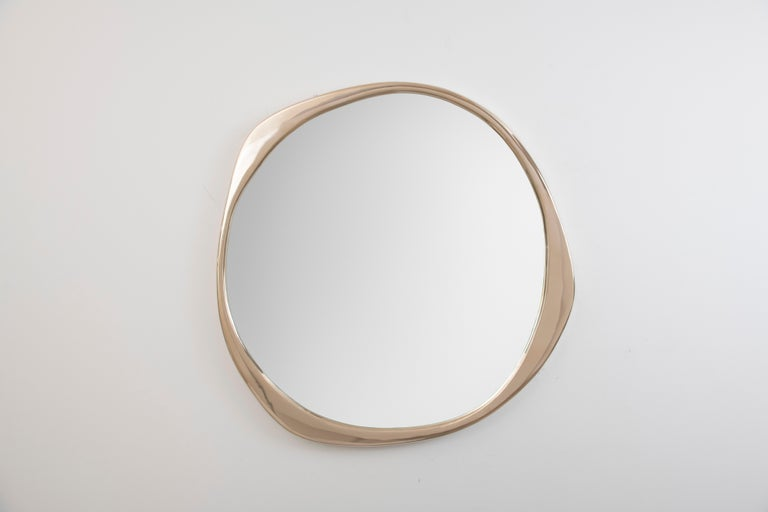 Patinated A. Cepa Wall Mirror Small in Hand-Patina Bronze For Sale