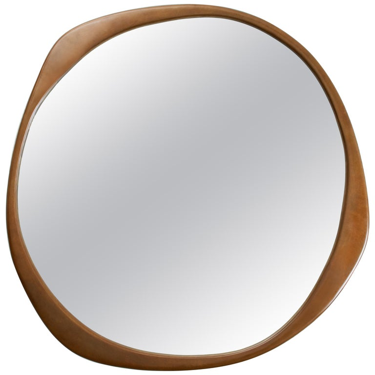 A. Cepa Wall Mirror Small in Hand-Patina Bronze For Sale