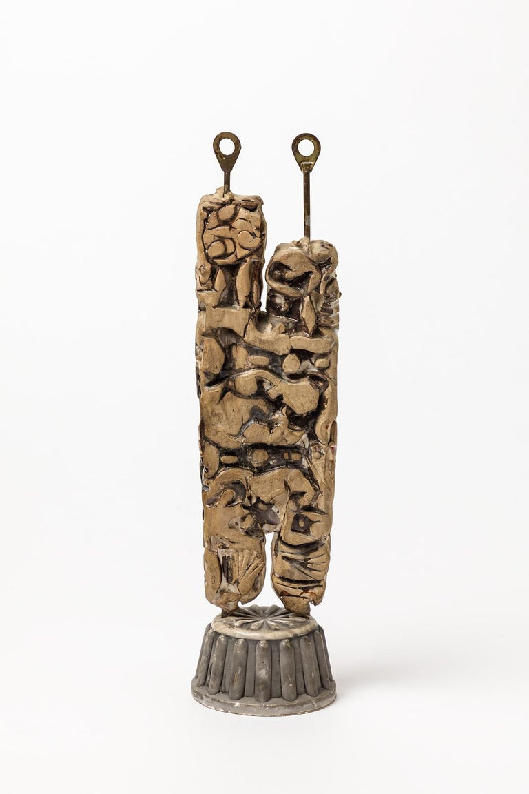 French Ceramic and Metal Sculpture by Klaus Schultze, circa 1960-1970 For Sale