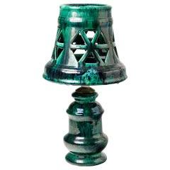 Ceramic Lamp with Green Glaze Decoration, Signed Morvan, circa 1960-1970