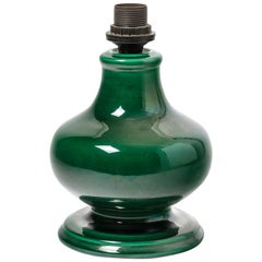 Ceramic Lamp with Green Glaze Decoration, Vallauris, circa 1960-1970