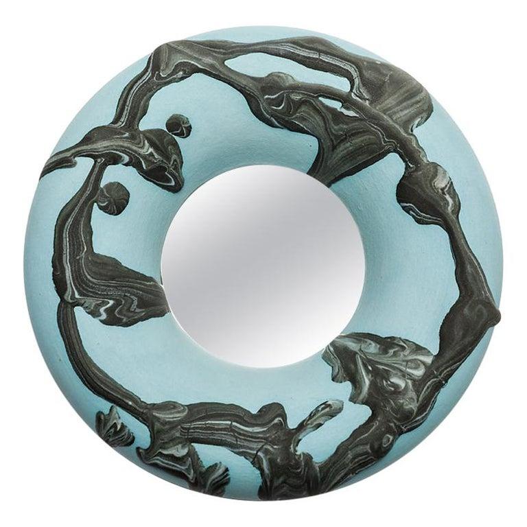 Ceramic Mirror by Mia Jensen, Signed, Unique Piece, circa 2019 For Sale