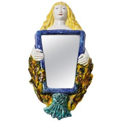 Ceramic Mirror in the Style of Guidette Carbonell, circa 1940
