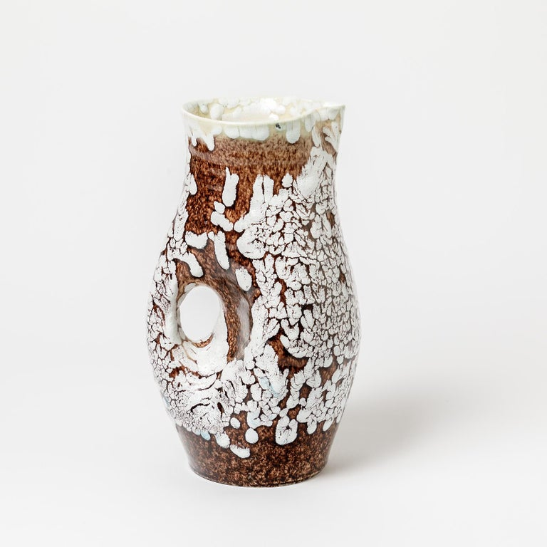 Ceramic Pitcher with Glaze Decoration by Accolay, circa 1960-1970 For Sale 1