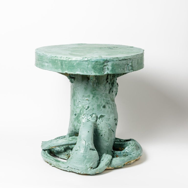 Beaux Arts Ceramic Table by Patrick Crulis with Green Glaze Decoration, France, 2021 For Sale