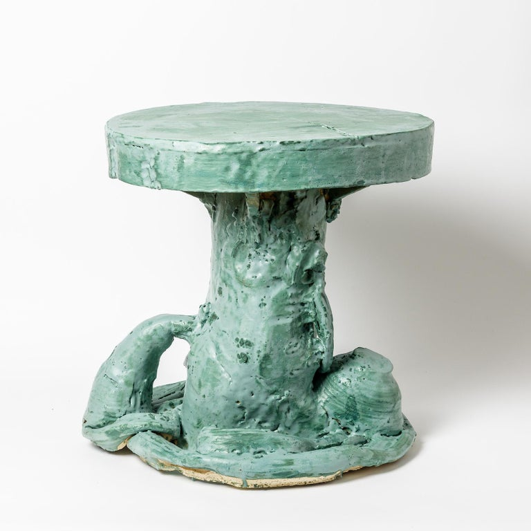 French Ceramic Table by Patrick Crulis with Green Glaze Decoration, France, 2021 For Sale
