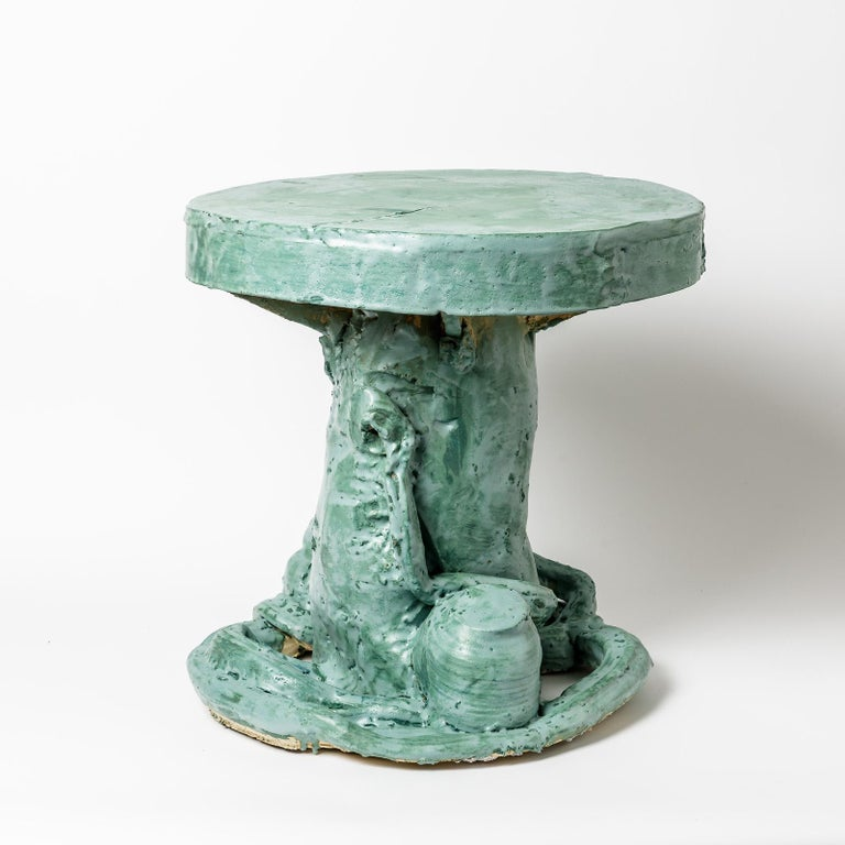 Ceramic Table by Patrick Crulis with Green Glaze Decoration, France, 2021 In Excellent Condition For Sale In Saint-Ouen, FR