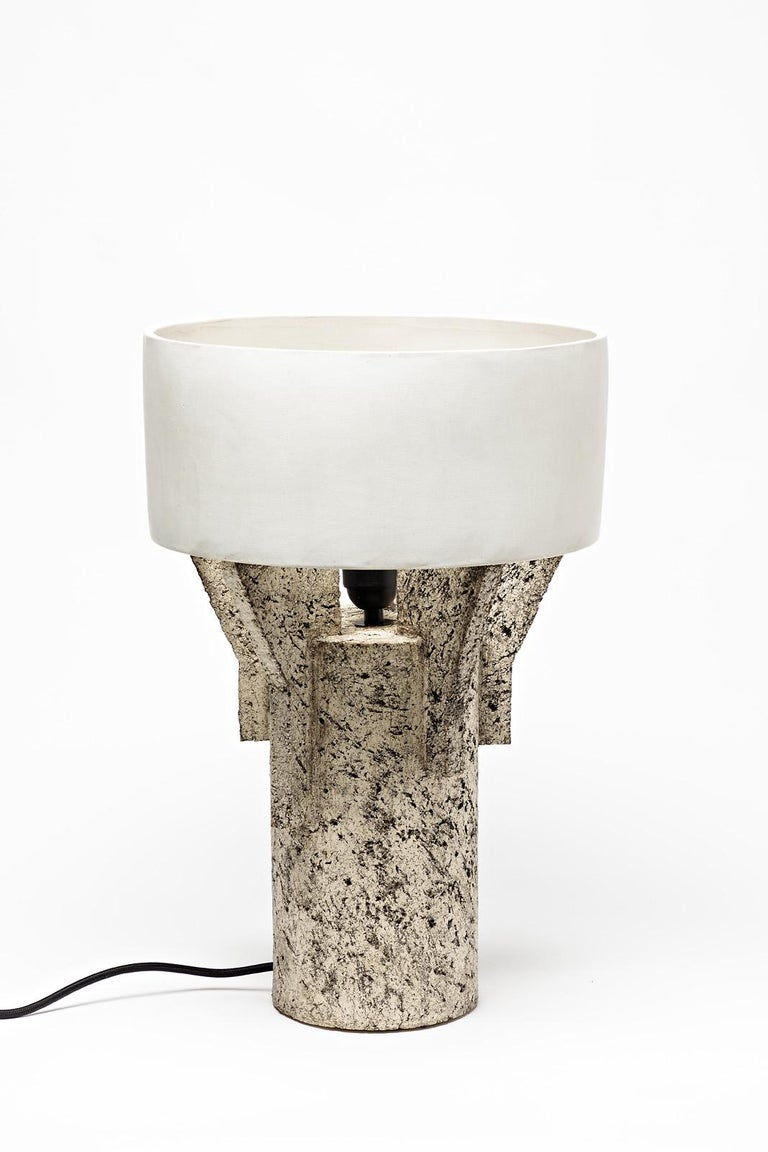 Beaux Arts Ceramic Table Lamp by Denis Castaing with White Glaze Decoration, 2019 For Sale