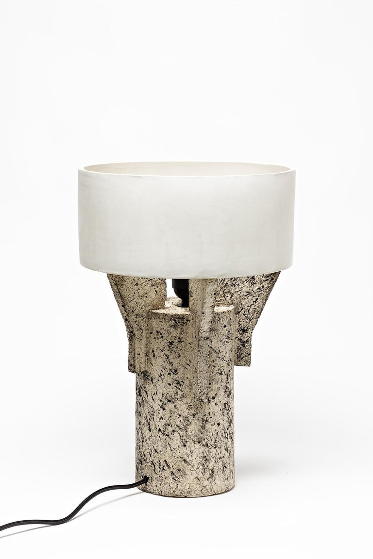 French Ceramic Table Lamp by Denis Castaing with White Glaze Decoration, 2019 For Sale