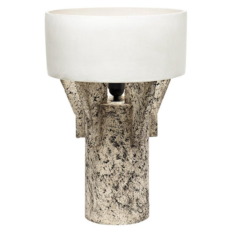 Ceramic Table Lamp by Denis Castaing with White Glaze Decoration, 2019 For Sale