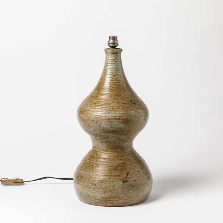 Beaux Arts Ceramic Table Lamp, Signed Monique, circa 1960-1970 to La Borne, France For Sale