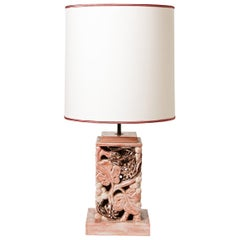 Ceramic Table Lamp with Pink Glaze Decoration, Signed, circa 1960-1970