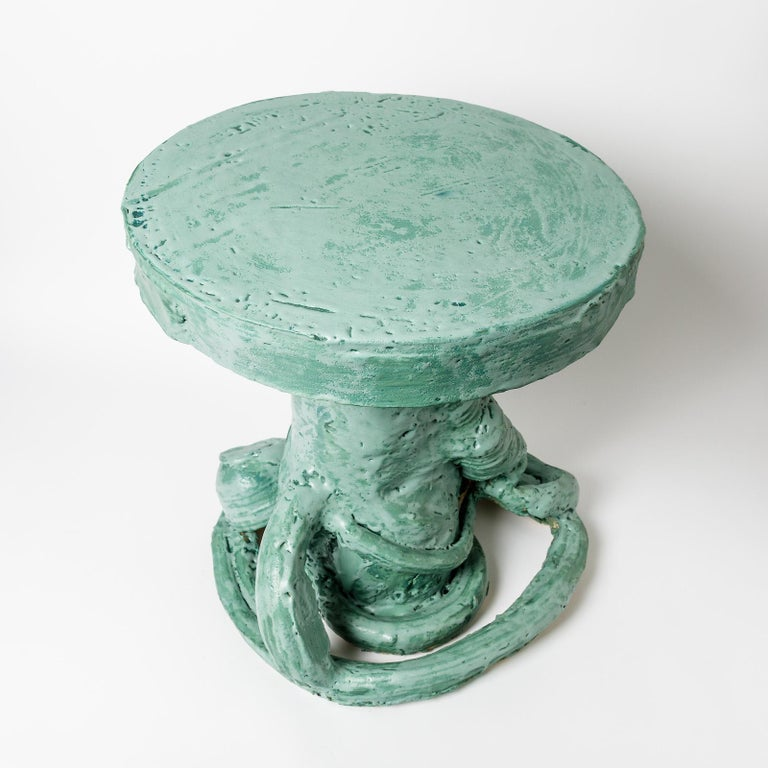 Ceramic Table with Green Glaze Decoration by Patrick Crulis, 2021 In New Condition For Sale In Saint-Ouen, FR