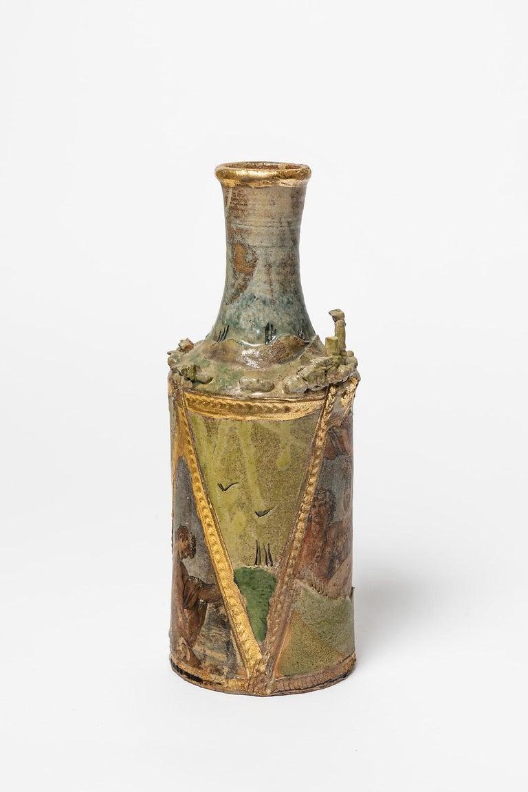 A ceramic vase with glaze decoration by Alain Girel. Perfect original conditions. Signed under the base. Circa 1987. Unique piece.