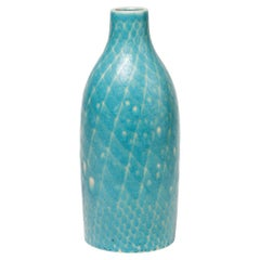 Ceramic Vase by Pol Chambost with Blue and White Glazes Decoration, circa 1930