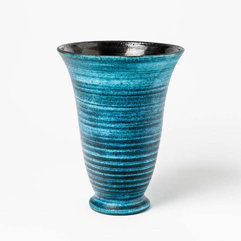 French Ceramic Vase with Blue Glaze Decoration by Accolay, circa 1960-1970 For Sale