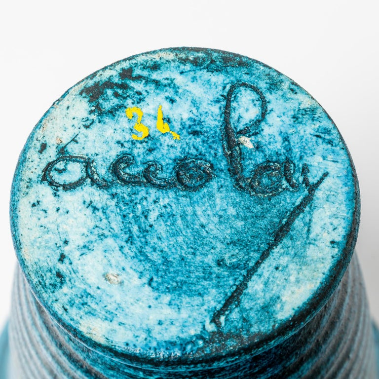 Ceramic Vase with Blue Glaze Decoration by Accolay, circa 1960-1970 In Excellent Condition For Sale In Saint-Ouen, FR