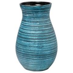 Ceramic Vase with Blue Glaze Decoration by Accolay, circa 1960-1970