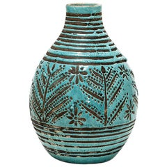 Ceramic Vase with Blue Glaze Decoration by Jean Besnard, circa 1930