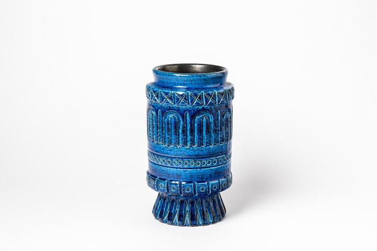 A ceramic vase with blue glaze decoration signed Pol Chambost. Perfect original conditions. Signed under the base, circa 1960-1970.