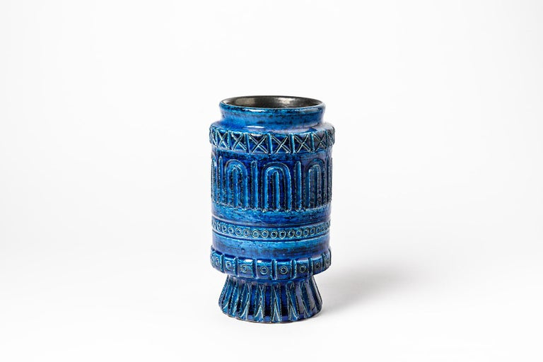 Beaux Arts Ceramic Vase with Blue Glaze Decoration Signed Pol Chambost, circa 1960-1970 For Sale