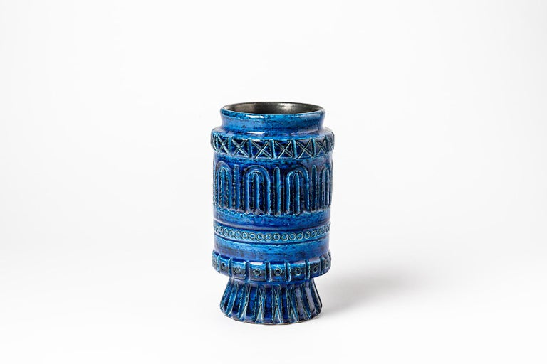 French Ceramic Vase with Blue Glaze Decoration Signed Pol Chambost, circa 1960-1970 For Sale