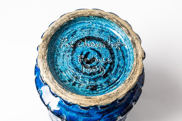 20th Century Ceramic Vase with Blue Glaze Decoration Signed Pol Chambost, circa 1960-1970 For Sale