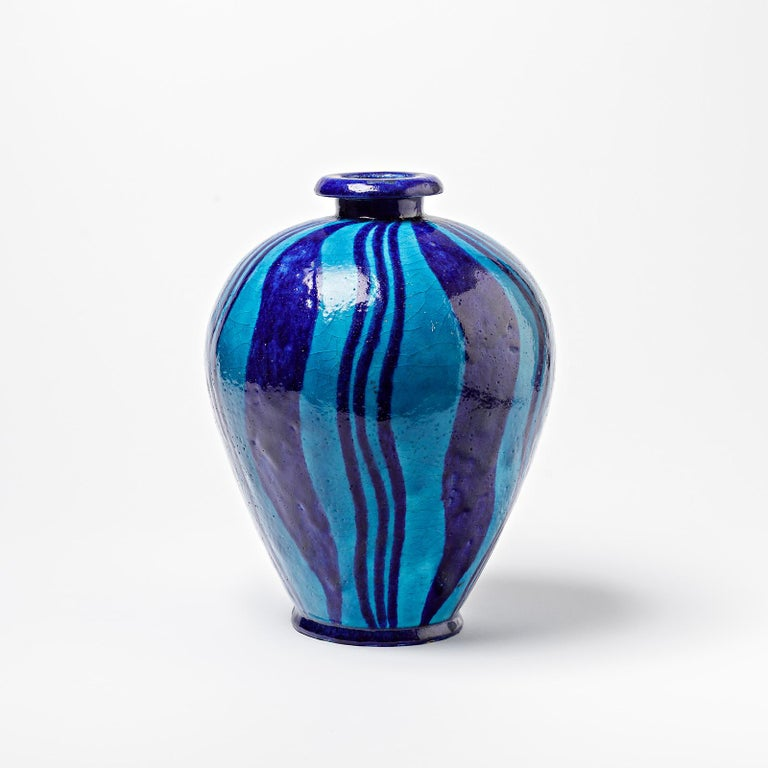 A ceramic vase with blue glazes decoration. Perfect original conditions. No signed. Unique piece, circa 1920.