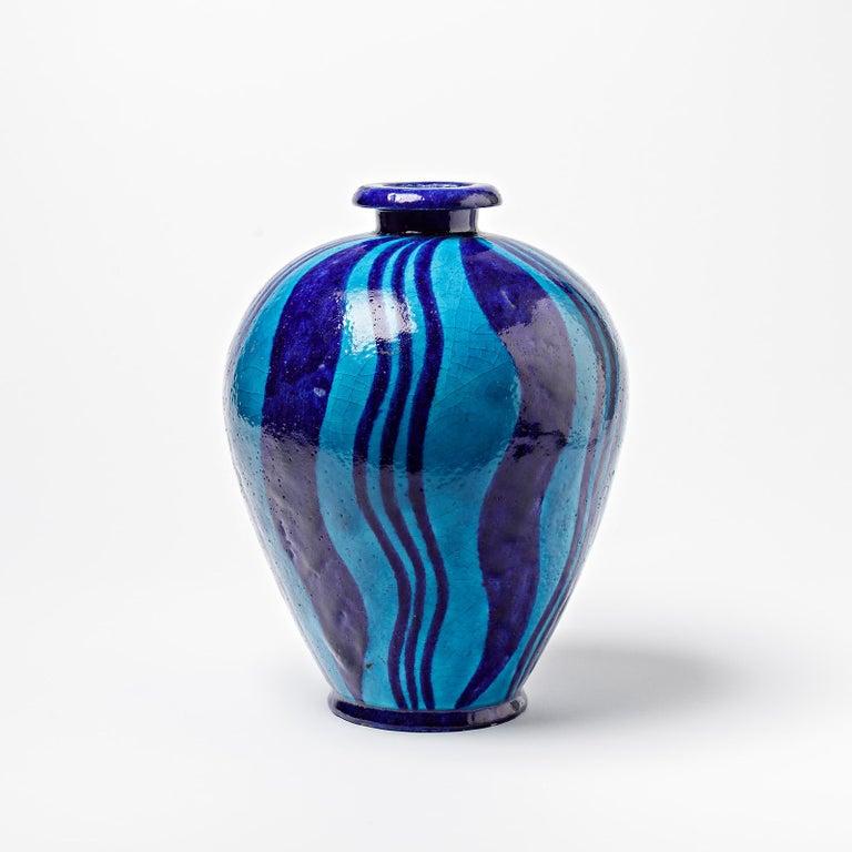 Beaux Arts Ceramic Vase with Blue Glazes Decoration, circa 1920, No Signed For Sale