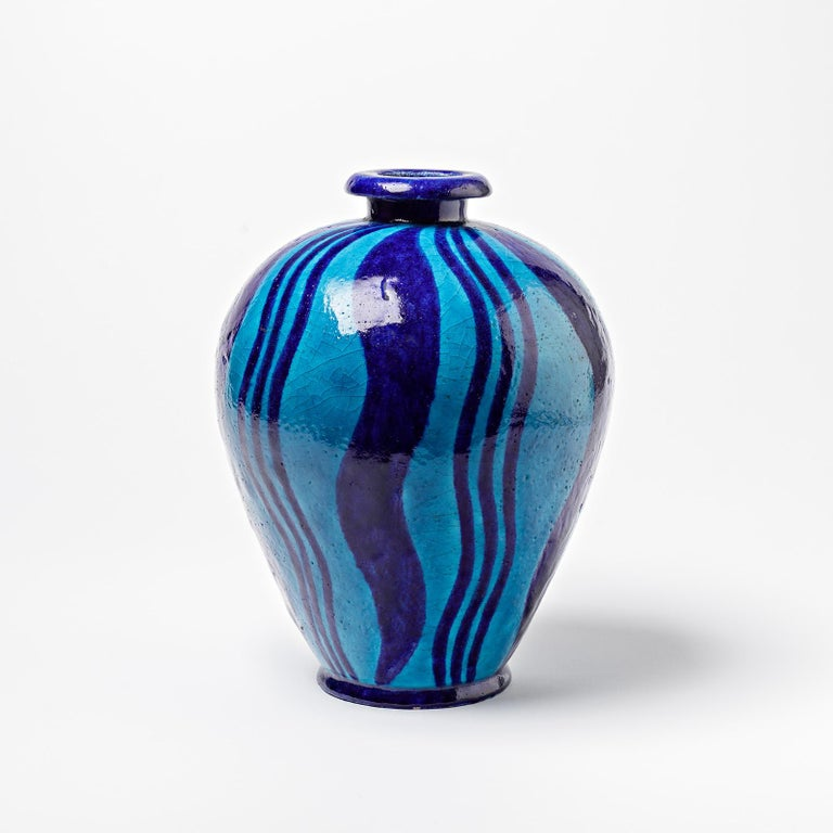 French Ceramic Vase with Blue Glazes Decoration, circa 1920, No Signed For Sale