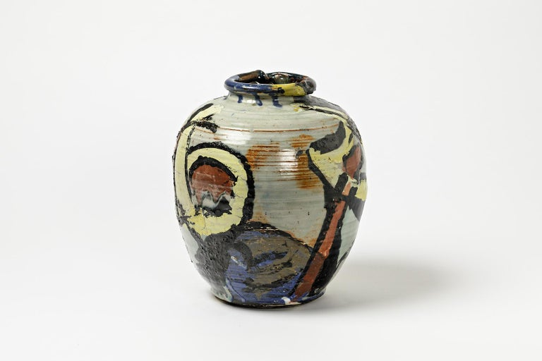 Beaux Arts Ceramic Vase with Glazes Decoration by Michel Lanos For Sale