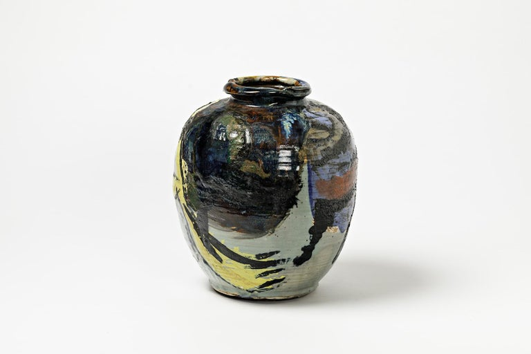 Ceramic Vase with Glazes Decoration by Michel Lanos In Excellent Condition For Sale In Saint-Ouen, FR