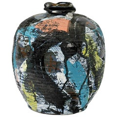 Ceramic Vase with Glazes Decoration by Michel Lanos