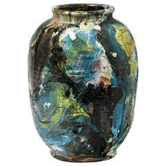 Ceramic Vase with Glazes Decoration by Michel Lanos '1926-2005'