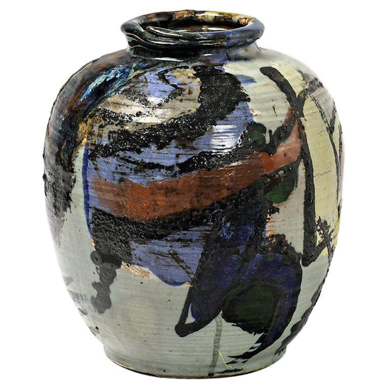 Ceramic Vase with Glazes Decoration by Michel Lanos For Sale