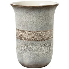 Ceramic Vase with White Glaze Decoration by Jean Besnard, circa 1932