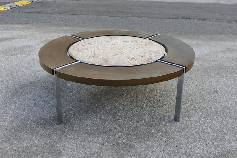 Extremely limited edition of this solid steel wood and art table from Sejer ceramics in the 1970s.