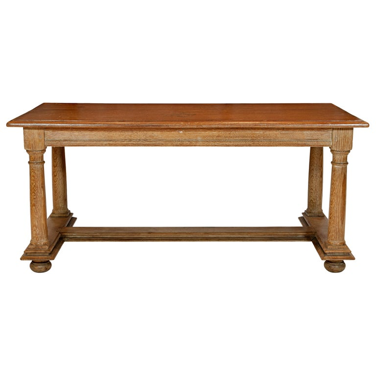 Cerused Oak Coffee Table Attributed to Jean Charles Moreau For Sale